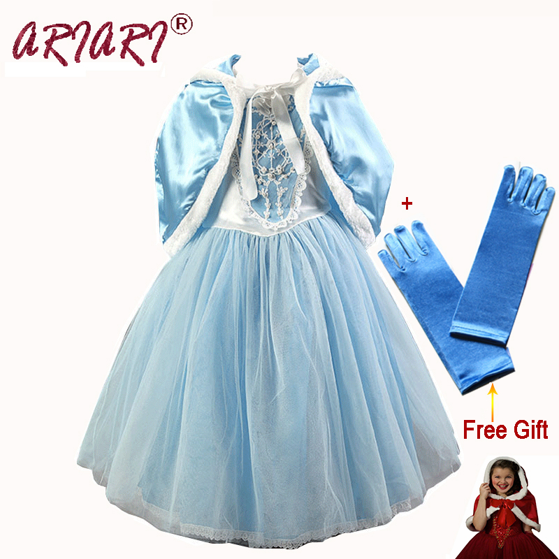 2016 Hot kids Clothes Girls Dress Gauze Fairy Cinderella Dress with Cloak Baby Girl Cosplay Costume Princess Dresses for Party(China (Mainland))