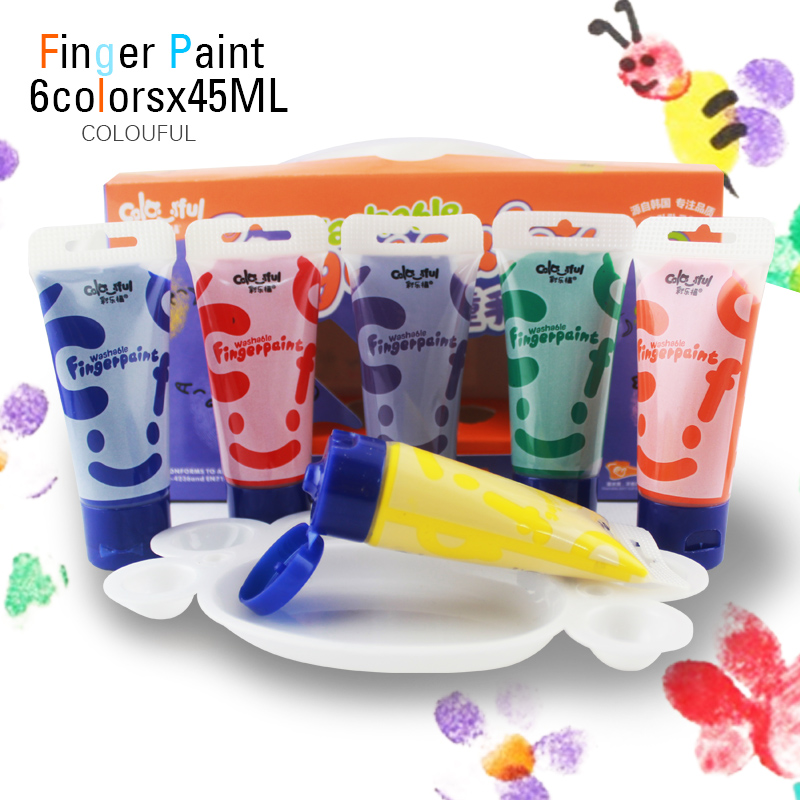6 colors 45ml Colourful Brand non-toxic washable paint finger painting for kids children water colors set(China (Mainland))