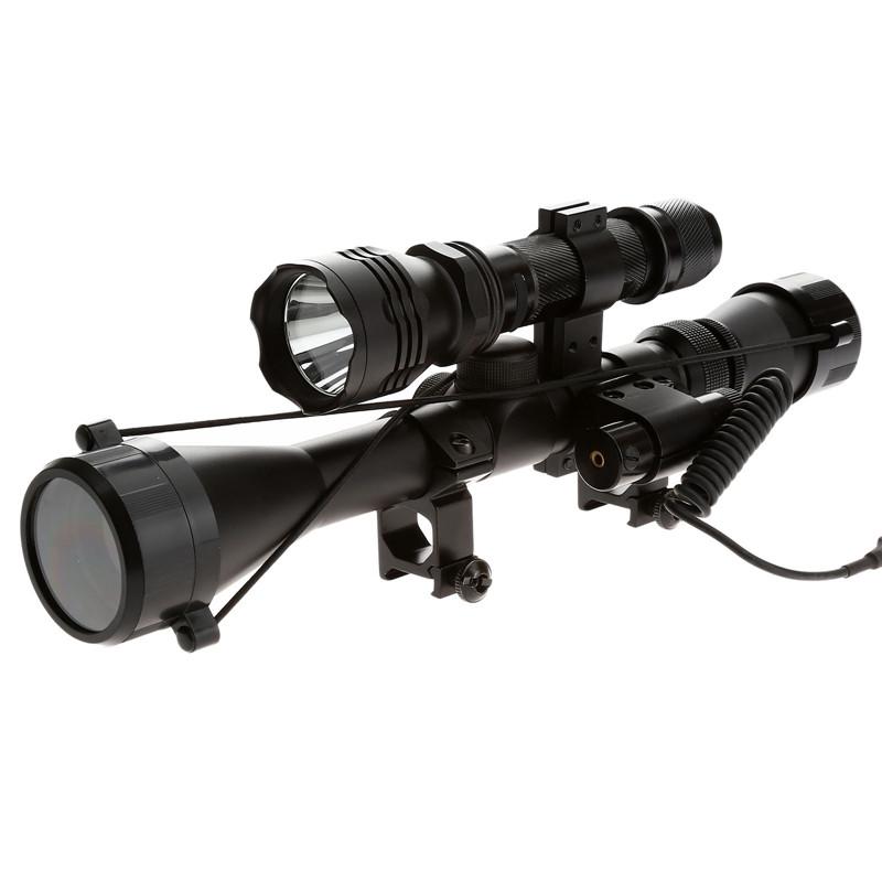 1set Optical Sight Riflescope 3-9X40 Hunting Optics Scope Mount Red Laser Sight Black Flashlight For Hunting Shooting