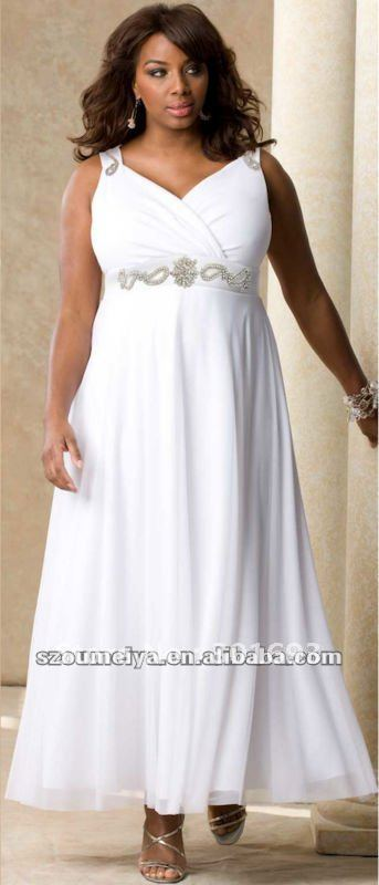 Plus Size Wedding Dresses With Empire Waist : Empire waist plus size tea length beach wedding dresses in