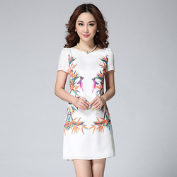 Fashion High Quality 2015 Women's bird Paradise Bird Mirrored Digital Printed Elegant Short-sleeve Dress Short Slim Dress