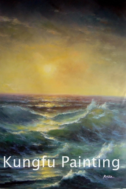 sea419 Handmade good quality ocean waves oil painting canvas for sale wall art decoration(China (Mainland))