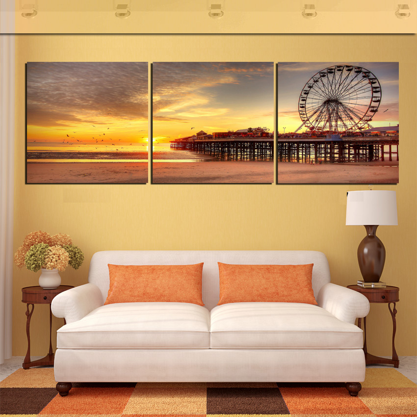 3 Panel Free Shipping Modern Home Decoration Wall Art Ferris wheel Riverside Night Oil Painting Pictures Frameless Canvas Prints
