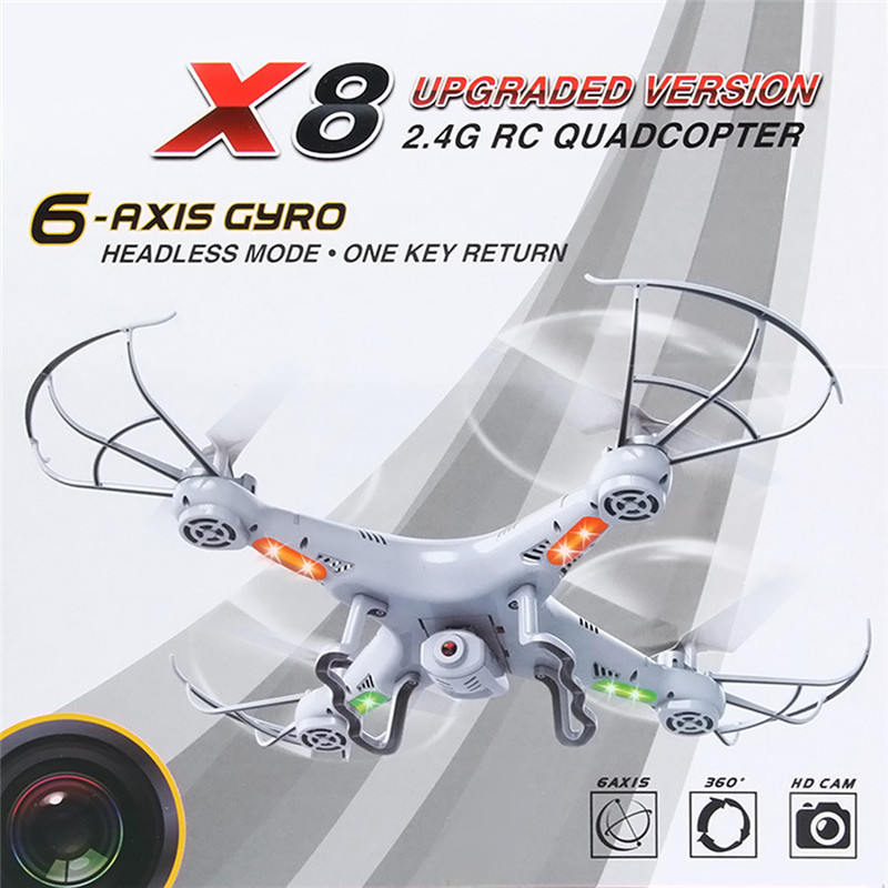 BS#S White X8 2.4Ghz 6-Axis Gyro RC Quadcopter Drone UAV RTF UFO with 2MP HD