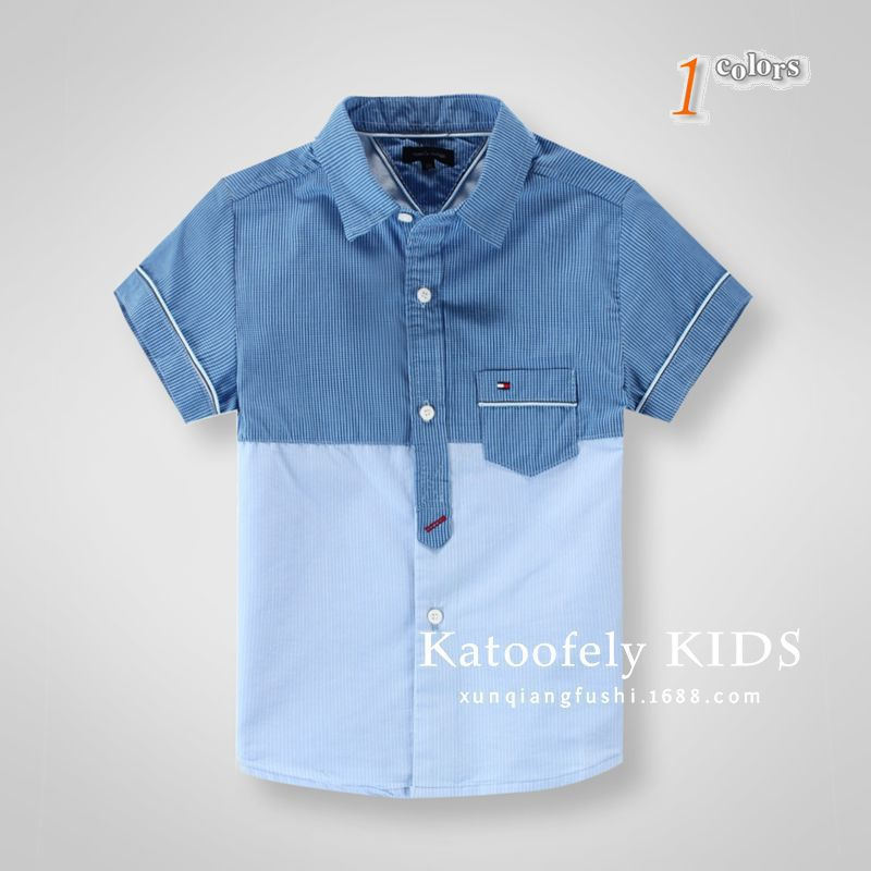 Discount Kids Summer Style Brand Dress Patchwork Plaid short sleeve Children Shirts 3-10 years old boys Shirts(China (Mainland))