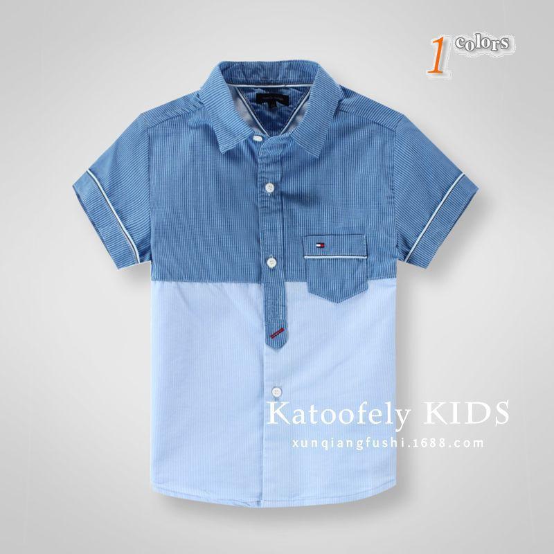 Discount Kids Summer Style Brand Dress Patchwork Plaid short sleeve Children Shirts 3-10 years old boys Shirts(China (Mainland))