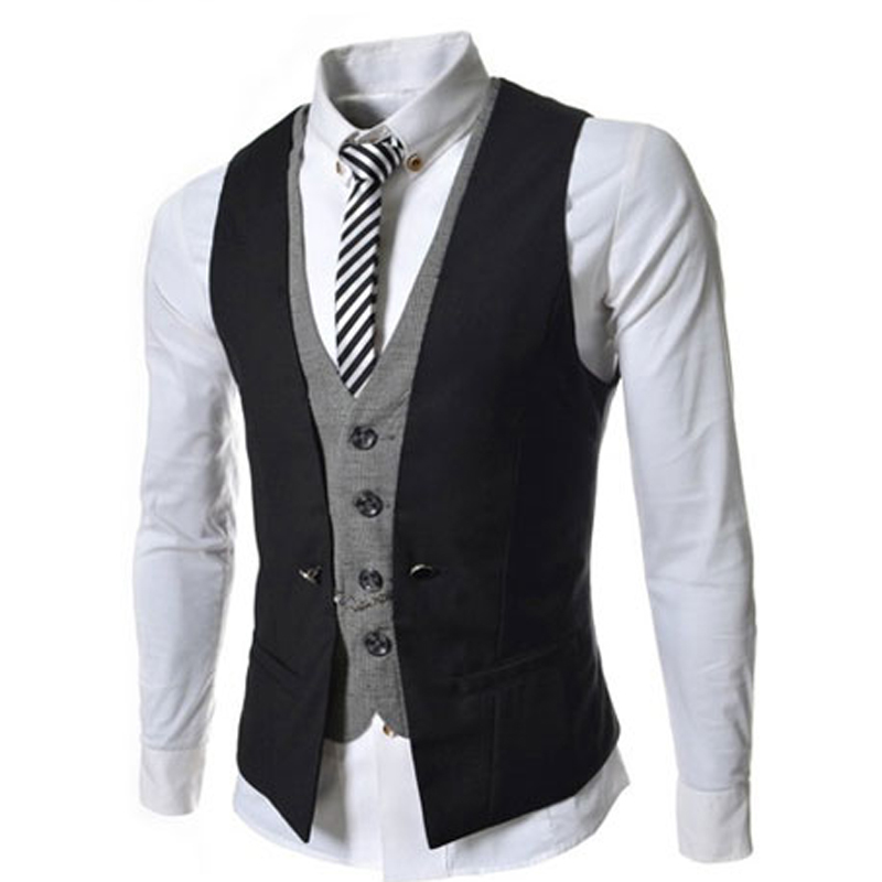 Fashion 2016 Mens Double Breasted Waistcoat Vest Slim Mens Casual Vest V-Necked Dress Classic Men Suit Vest Business Jacket Tops(China (Mainland))
