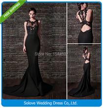 2015 Cap Sleeves Sexy Black Lace Prom Dress 2015 Long Mermaid Prom Dress Backless Evening Gown Vestido De Festa Longo SL-P102(China (Mainland))