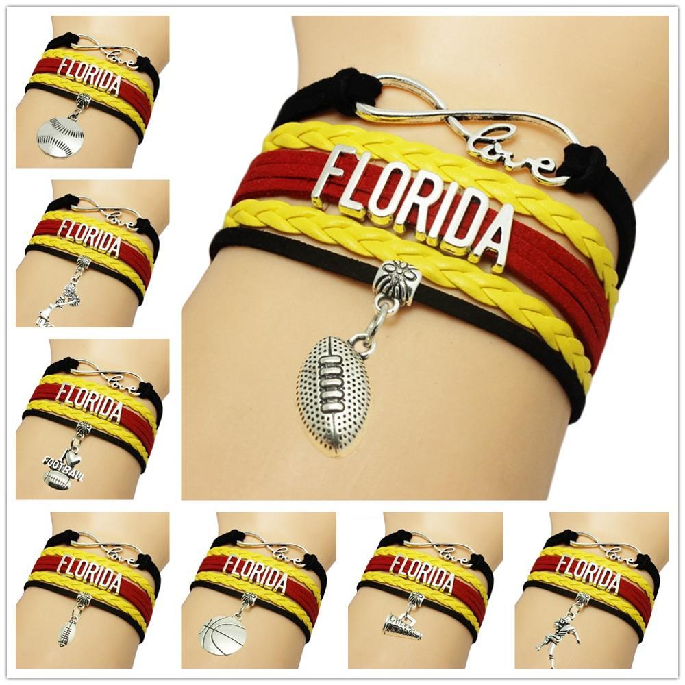 Infinity Love Florida State Football Sports Team Bracelet navy blue orange Customize Sport friendship Bracelets(China (Mainland))