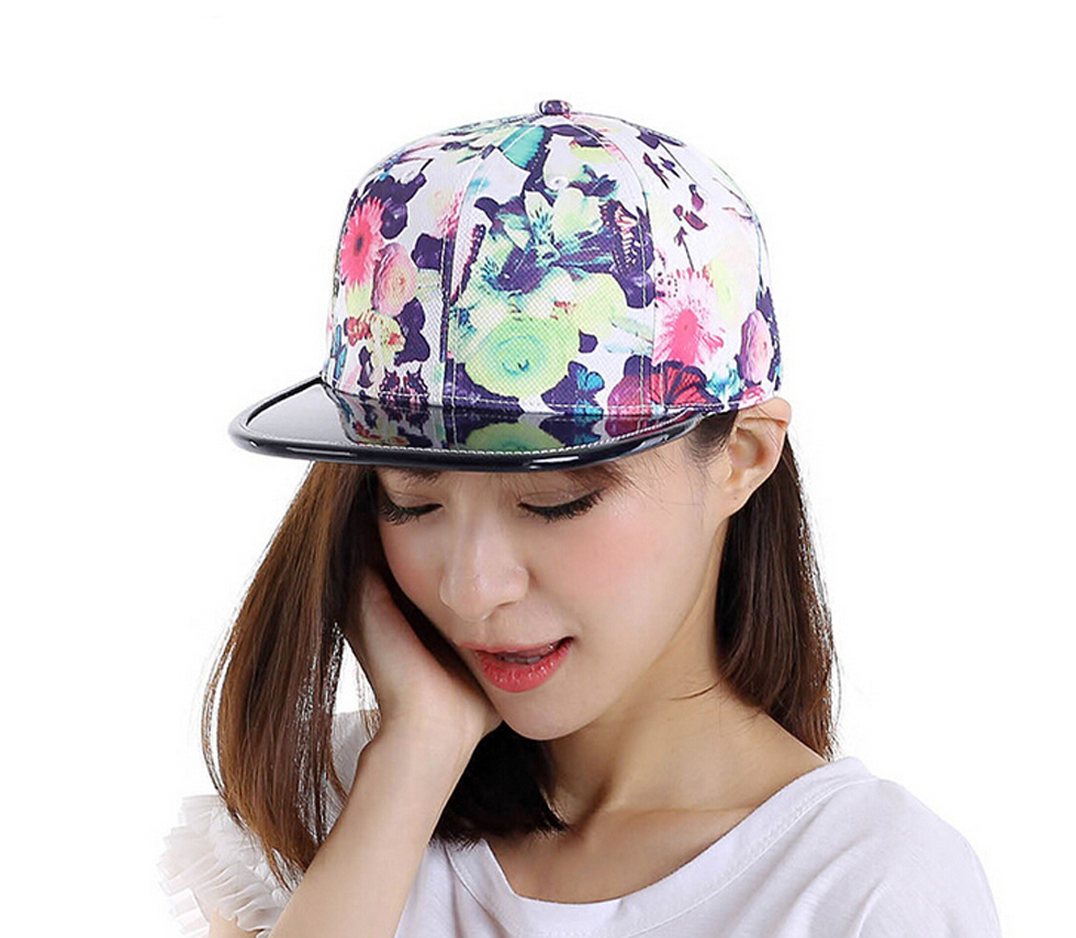 3pcs/Lot Fashion Branded Flower Printed Baseball Caps for Women Quality Floral Snapback Hats for Spring Summer Wholesaler Online(China (Mainland))