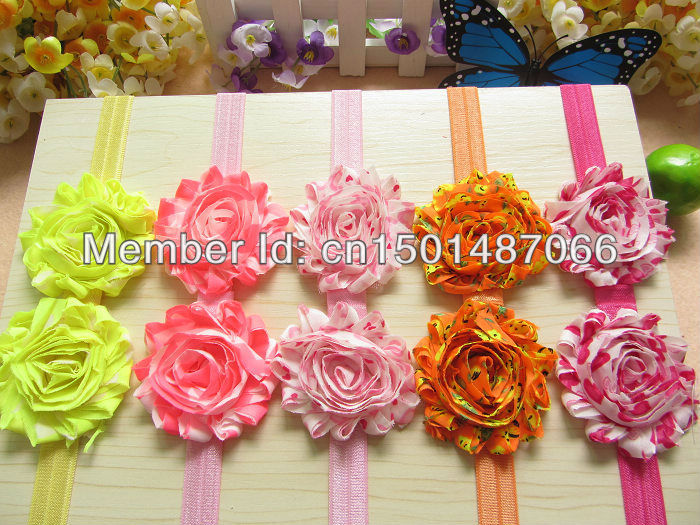 Sample order NEW Baby Shabby Flower Headbands 2.5inch heart type flowers With Shimmery Headbands Girls hair accessories(China (Mainland))