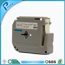 Compatible P-touch label tape M-K231 label tape Black on White M tape for PT100, PT110, PT printer