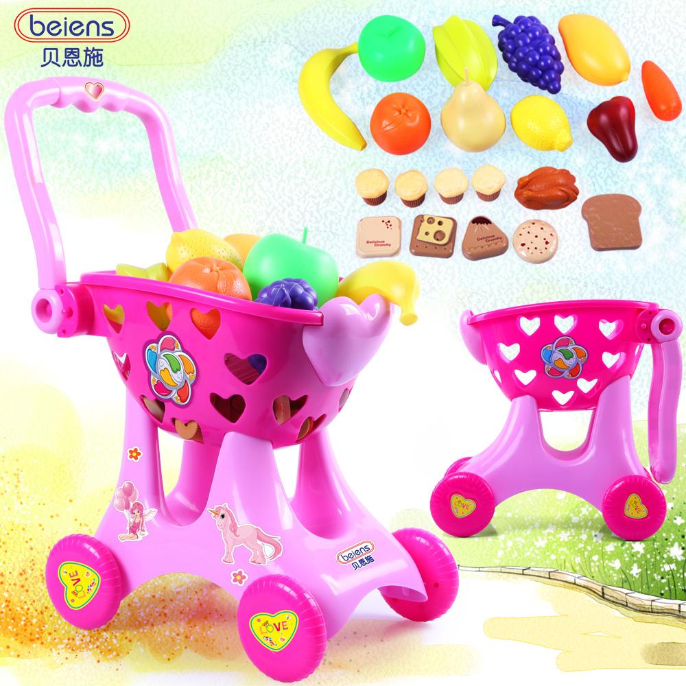 Toy shopping cart bain set baby puzzle trolley child supermarket shopping cart toy TY33(China (Mainland))