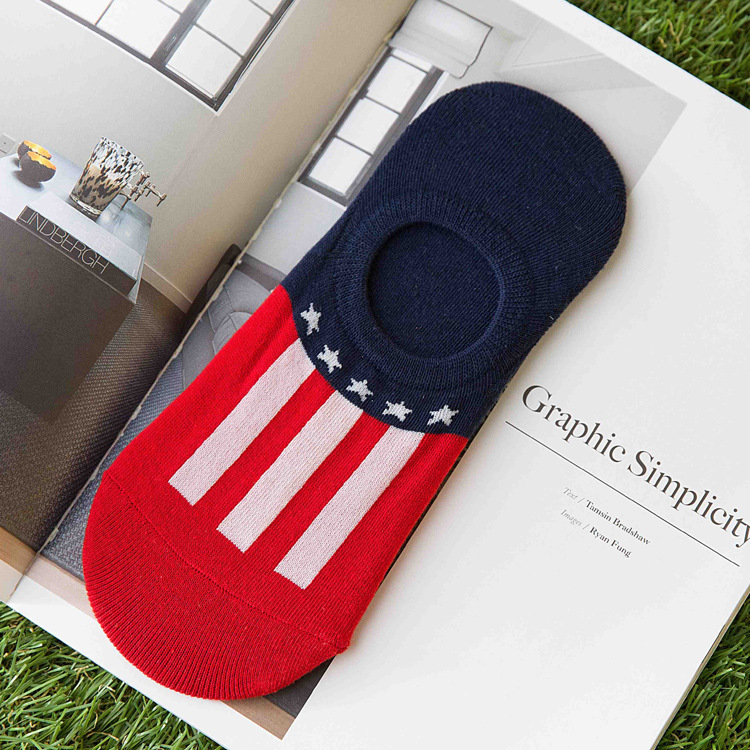 1 Pairs Loafer Invisible Stocks Men Casual Non-Slip national flag sokken Cotton meias chaussette homme Low Cut Socks