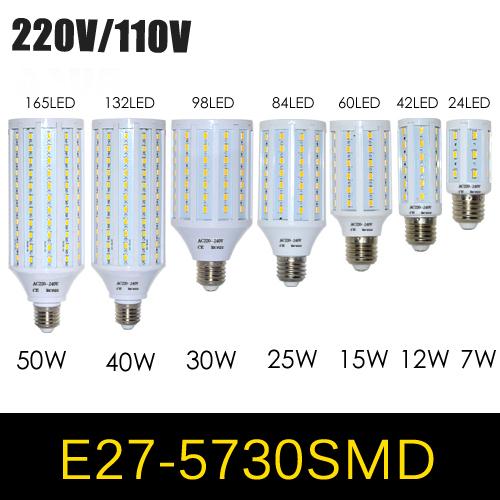 1Pcs E27 E14 5730 5630 SMD LED Corn Bulb AC 220V AC 110V 7W 12W 15W 25W 30W 40W 50W High Luminous Spotlight LED lamp light(China (Mainland))