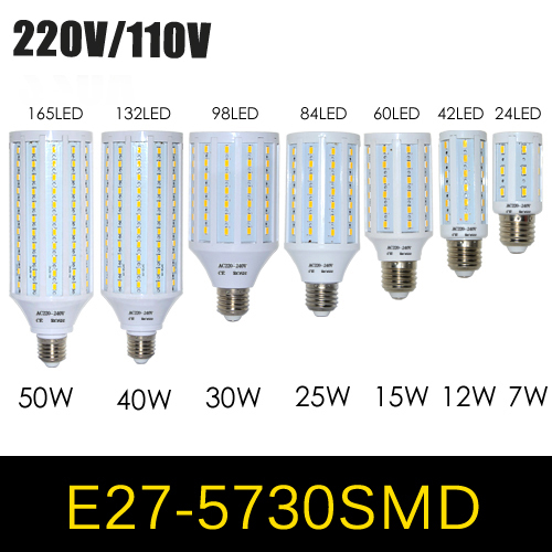 1Pcs E27 E14 5730 5630 SMD LED Corn Bulb AC 220V AC 110V 7W 12W 15W 25W 30W 40W 50W High Luminous Spotlight LED lamp light(China (Mainland))
