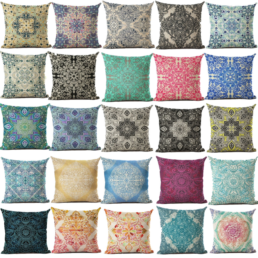 Cushion Cover Geomtric Pillowcase Font