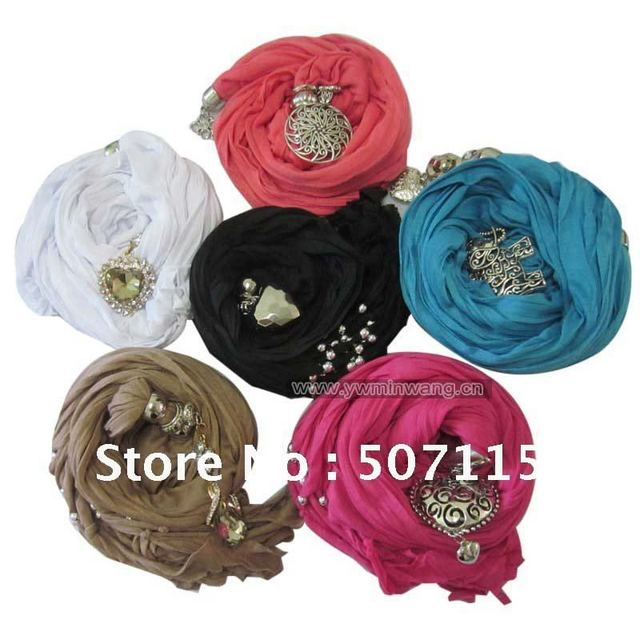 Free Shipping 2pcs/lot Hot Selling Mixed Colors& Styles Pendant Scarves/ Jewelry Scarf/Jeweled Scarves For Promotions