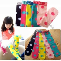 1Pairs Children  Kids Dot Tights Toddler High Lenggings Girl's Stocking The Foot Wear 5Colors Mix #1017