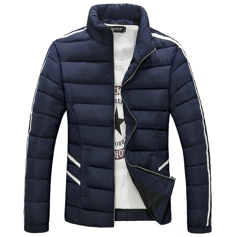 Solid Color Mens Winter Jacket Men's Hooded Wadded Clothes Winter Thicken Outerwear Male Slim Casual Cotton-padded Male Coat