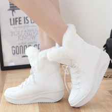 2015 new Snow Boots platform women winter shoes waterproof ankle boots lace up fur boots white black (China (Mainland))