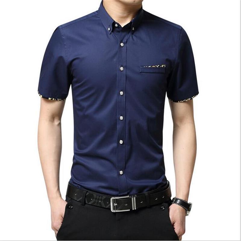 New Fashion Contrast Color Collar Men Shirt Short Sleeve Slim Fit Shirt Men 100% High Quality Men Designer Shirts good Clothes(China (Mainland))