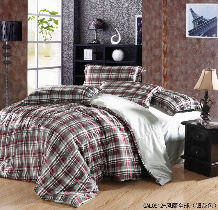 cheap chinese imitated silk textiles queen king fashion plaid bedding