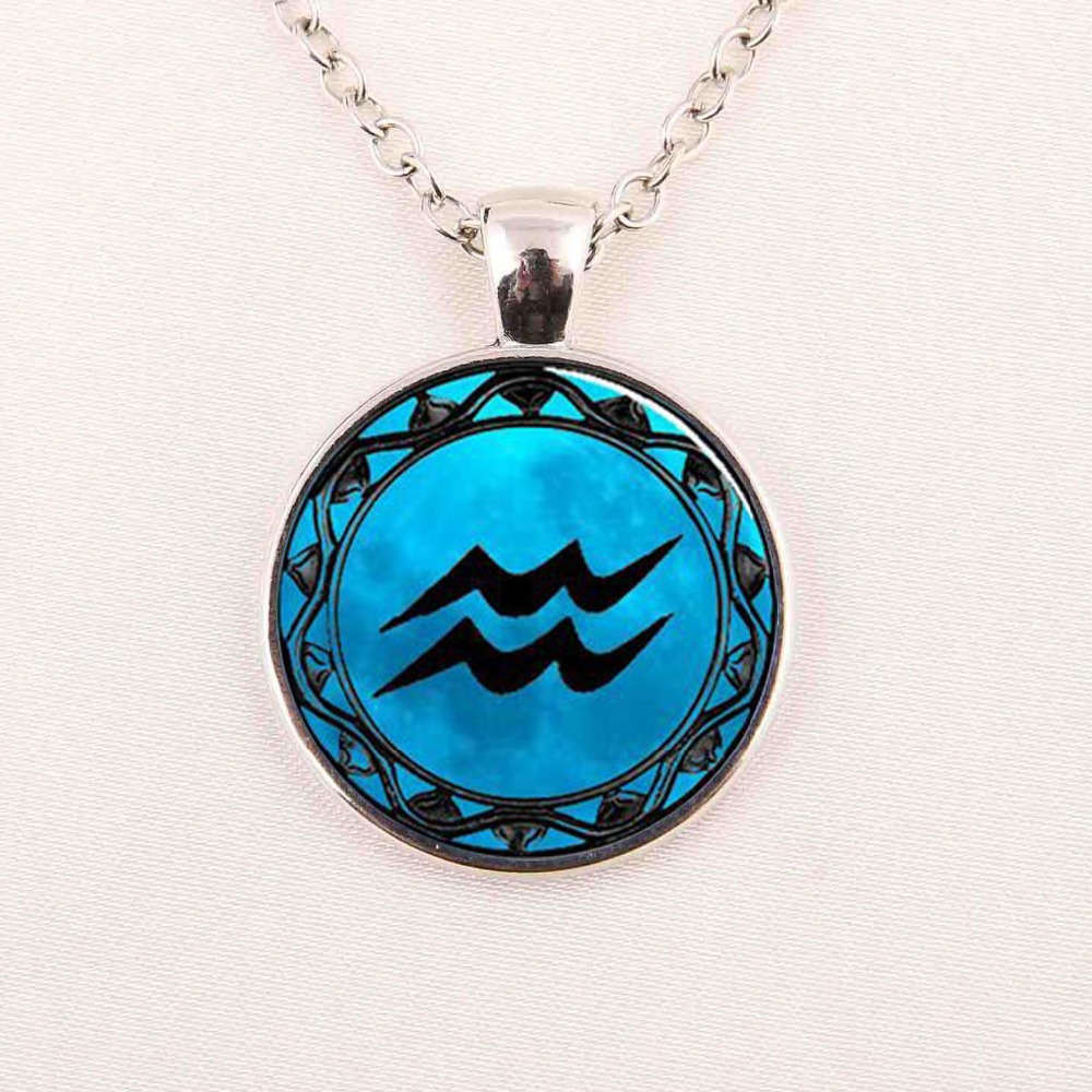 Libra Necklace Cancer Zodiac Sign Jewelry Gemini Blue Moon Scorpio Scales September October Birthday Astrology Art Pendant(China (Mainland))