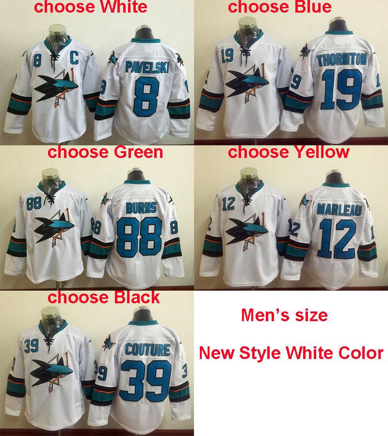 New White Men's Logan Couture 88 Brent Burns 8 Joe Pavelski Joe Thornton 12 Patrick Marleau Hockey Jersey,High quality,stitched(China (Mainland))