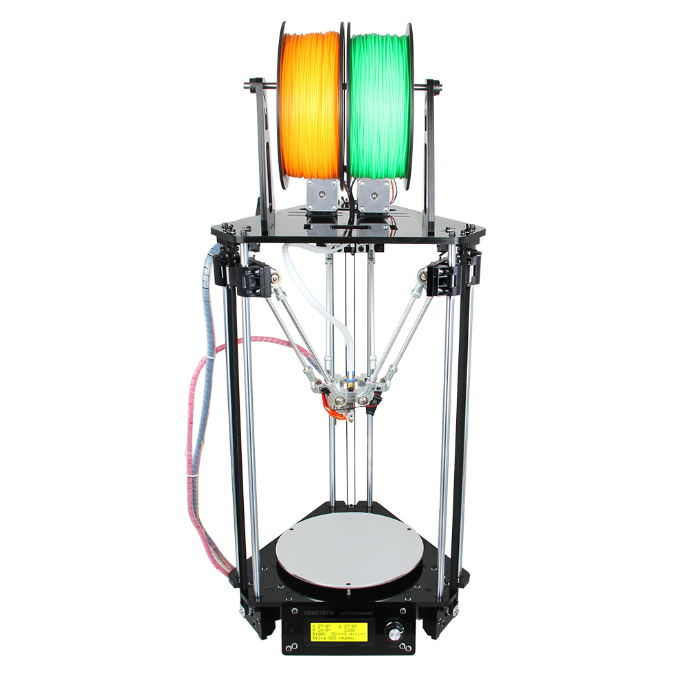 Free Shipping !! Newest Auto-leveling Dual Extruder 3D Printer DIY kit Delta Rostock mini G2s LCD 2004(China (Mainland))