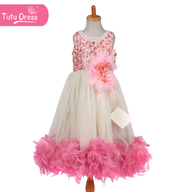 Pink Hello Kitty Cute Style Feather Dress 1pc Flower White Tulle Free Shipping Girl Dress Up in China Retail(China (Mainland))
