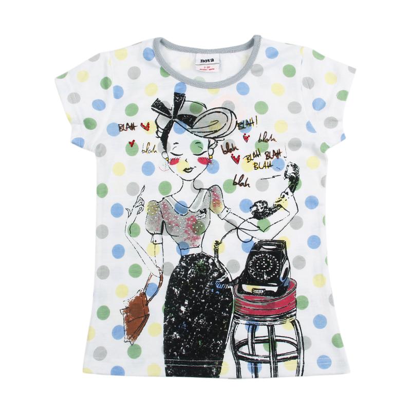 new promotion nova 2015 summer printed fashion girl colorful polka dot short sleeve lolita style girl t-shirt good hot sale<br><br>Aliexpress