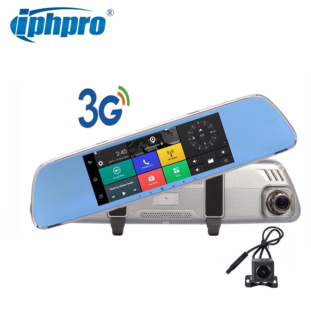 Free 32G Card car dual camera 3G android GPS 7.0in ROM 16GB black box full hd 1080p car dvr mirror Dual Lens G-sensor camera car(China (Mainland))