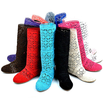 New 2016 Spring Summer Women Boots knitted Hollow high boots Fashion Womans Cool botas Mesh Breathable shoes Womens Single Shoe