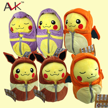 Pokemon plush Pikachu Cosplay Charizard Eevee Robe Sleeping Bag Ekans Plush toys cartoon Fashion Toys Plush dolls 25cm(China (Mainland))