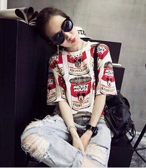 Gagaopt 2016 Make Me Smile Mickey Blouse Women Printed Chiffon Top Casual Tee Shirt Femme Camisetas Mujer Vetement Femme T0510(China (Mainland))