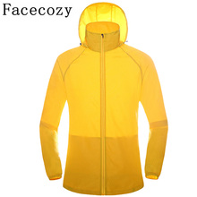 Facecozy Couple's Spring Summer Outdoor Quick Dry Hiking Camping Shirts Breathable Hooded Thin Fishing Jackets For Women&Men
