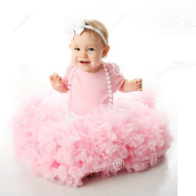 New arrival baby clothing set Baby tutu pettiskrit pink ruffle chiffon mini ball gown skirt(China (Mainland))