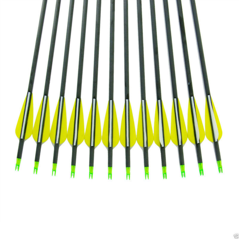 12pcs 30 Inch Long Target Practice Steel Point Mixed Carbon Arrow  For hunting Long Bow Compound/Recurve Bow Spine 400