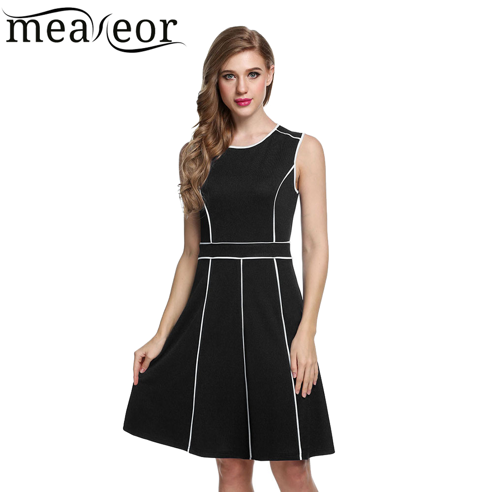 Meaneor Women Sleeveless dress Contrast Color women Pleated dress Fit and Flare Party dresses women summer dress 2016(China (Mainland))
