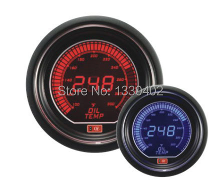 2.5 inch LCD 2colors(red&blue light) gauge LCD OIL TEMP meter auto gauge car accessories tachometer(China (Mainland))
