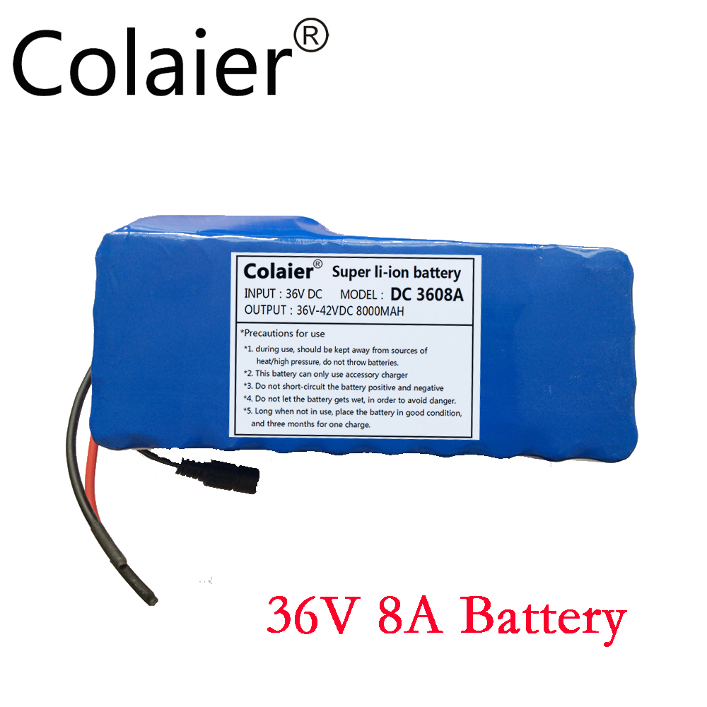 Colaier 36V 8AH bike electric car battery scooter high-capacity lithium battery +42V 2A Charger(China (Mainland))