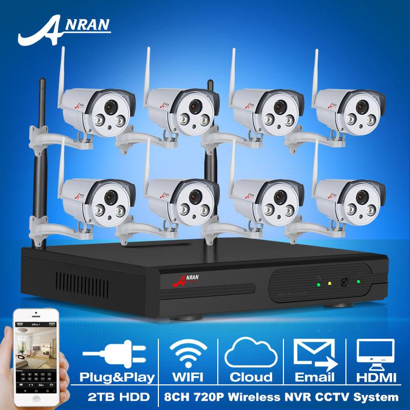 Plug And Play CCTV System 8CH Wireless NVR 2TB HDD P2P 720P HD 2 Array IR Outdoor Security IP Camera WIFI Surveillance Kit(China (Mainland))