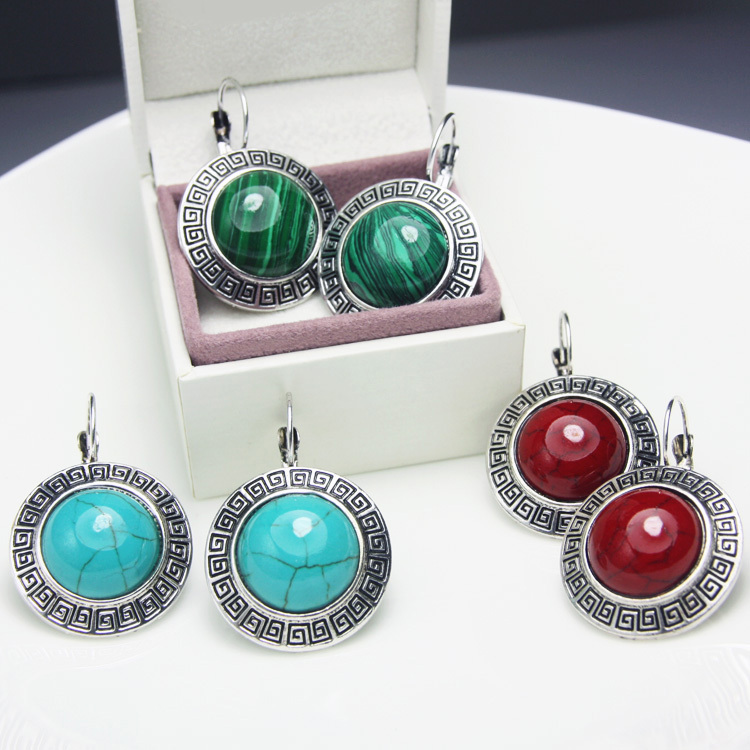 Vintage Big Stud Earrings with Stones leverback tibetan silver earrings blue red green round turquoise earrings jewelry ers-g49(China (Mainland))
