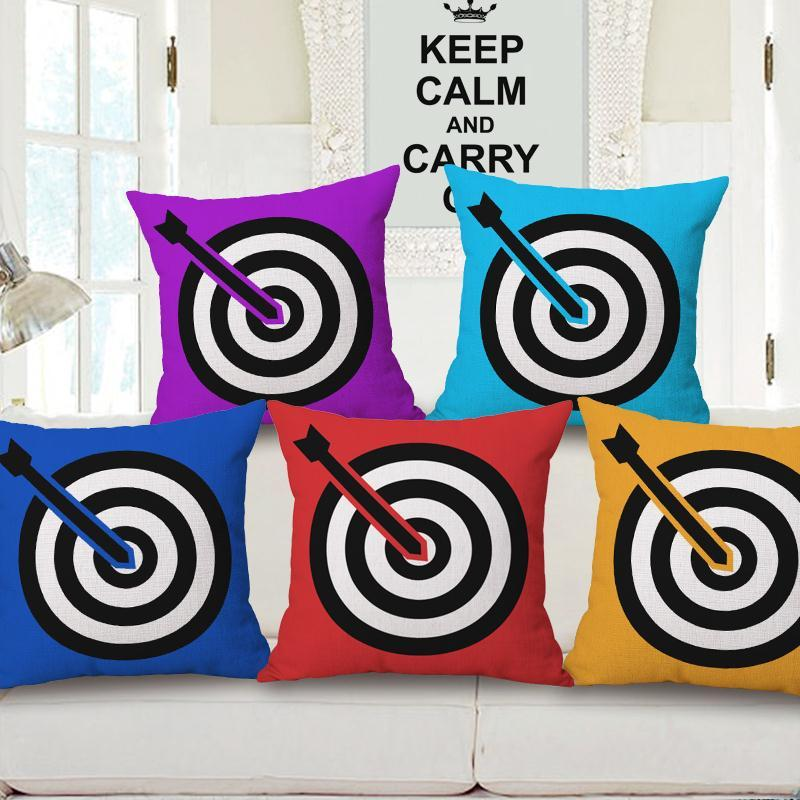 Free Shipping Simple Red Blue Target Cotton Linen Fabric Decorative Cushion 45cm Hot Sale New Home Fashion Christmas Gift Pillow
