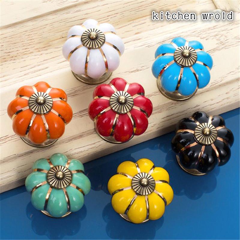 Гаджет  Pumpkins Shape Handle Europe  Style Ceramic Knobs 7 Colors 4 cm Door Cabinet Cupboard Handle Pull Drawer Furniture Hardware None Мебель