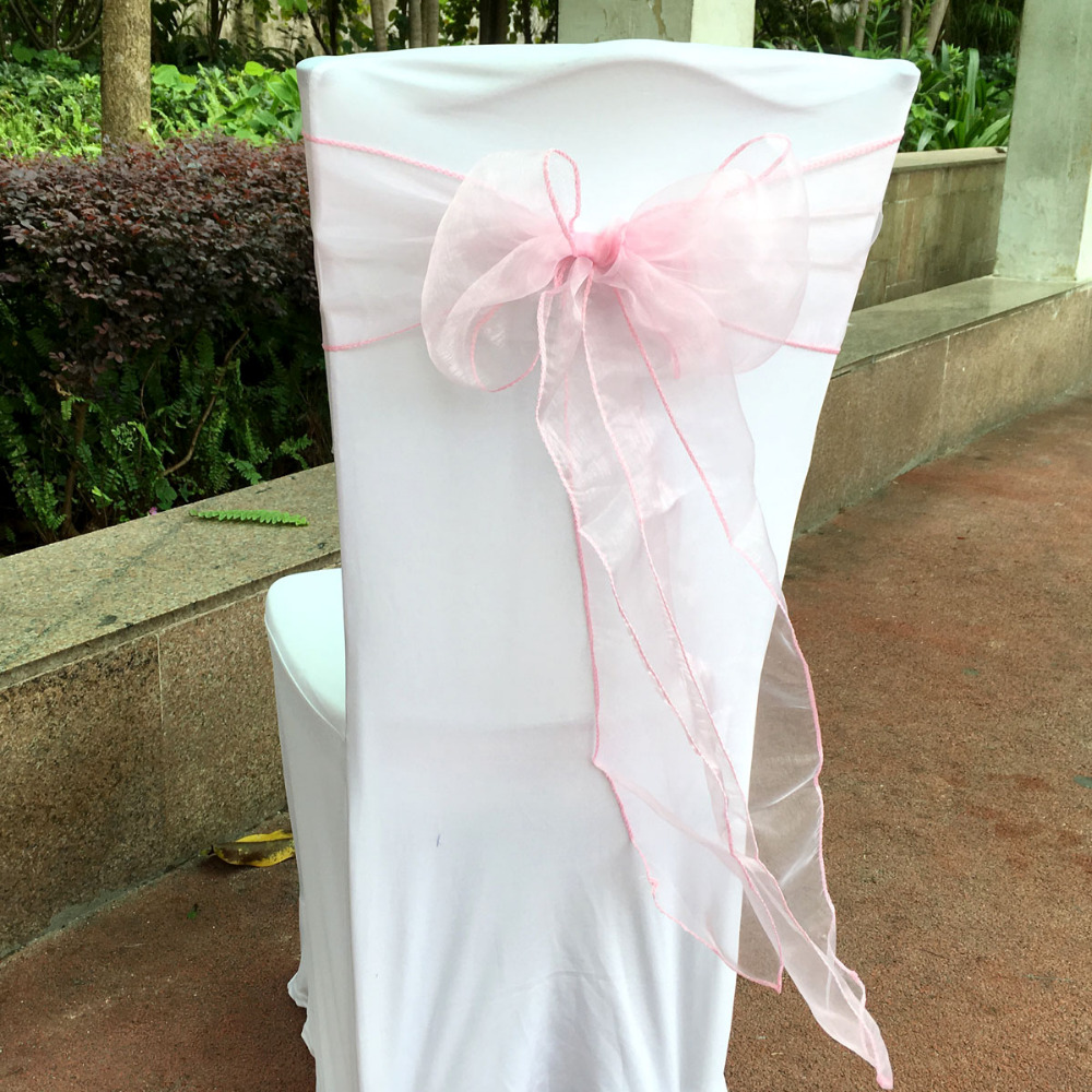 100 Pcs/lot Light Pink Color Organza Sash Chair Sashes Bands Bow Banquet Wedding Party Decoration(China (Mainland))
