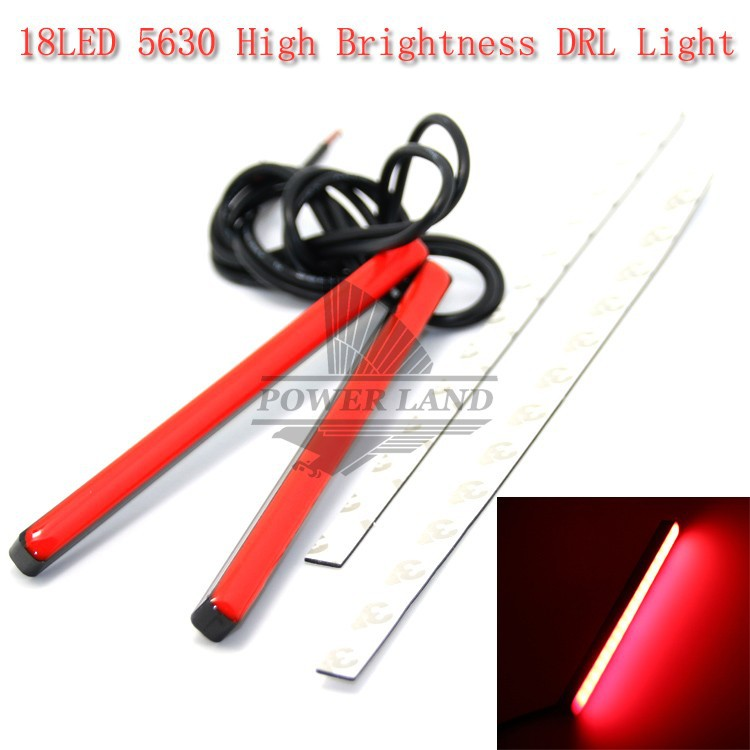 2x Universal Car Styling 18LED Ultra-thin Invisible Waterproof DRL Strip SMD5630 Red High Brightness Bar Day Running Light 1103(China (Mainland))