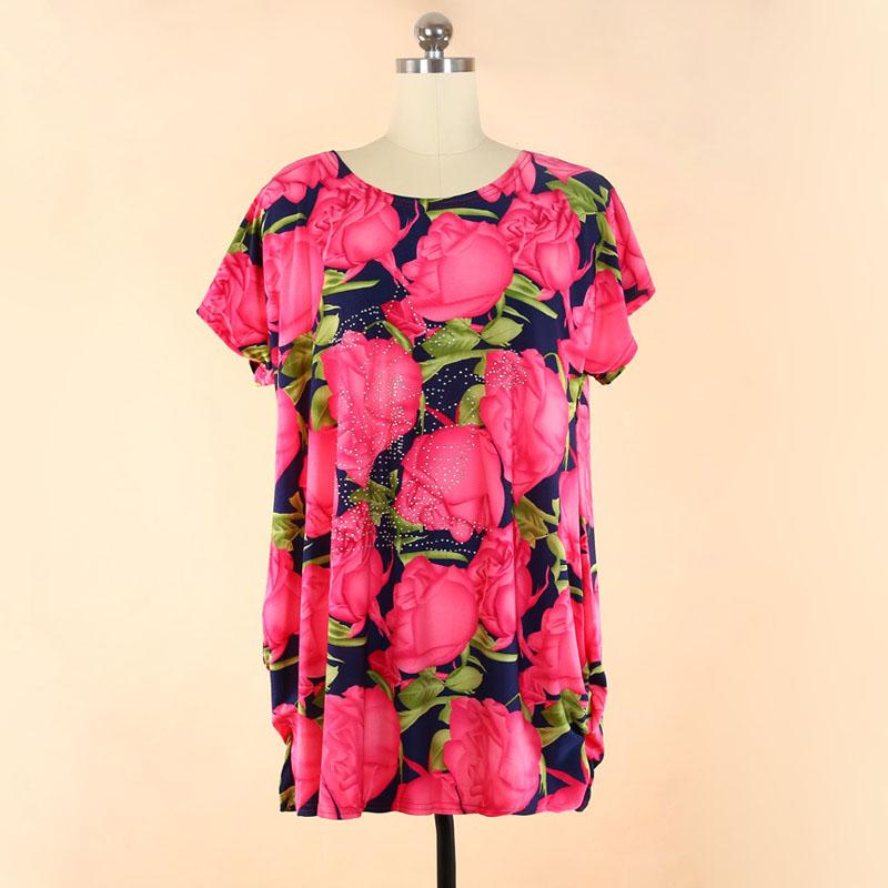 Fashion design big Size women clothes diamond flower t-shirts Dropship SH430(China (Mainland))
