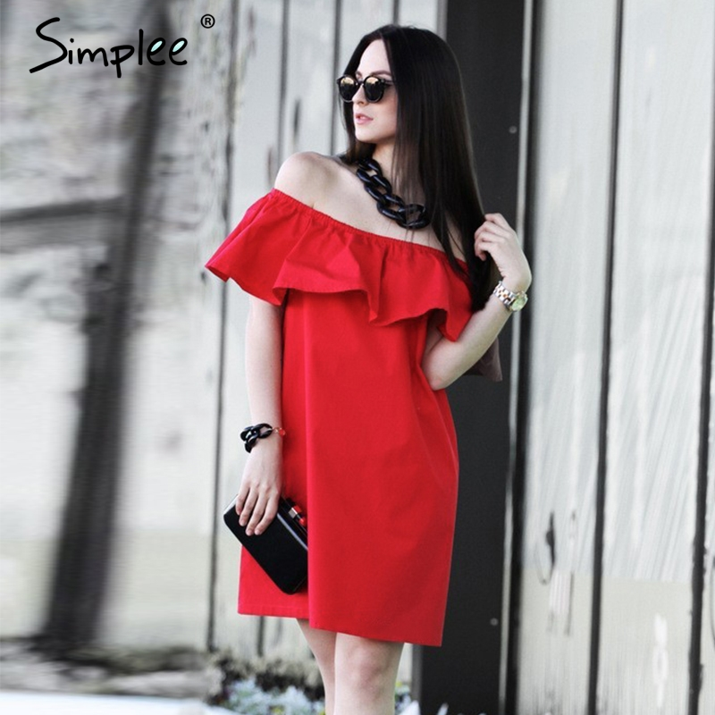 Simplee Ruffles off shoulder summer dress Women streetwear sleeveless short dress White sexy vestidos tube beach red dresses(China (Mainland))